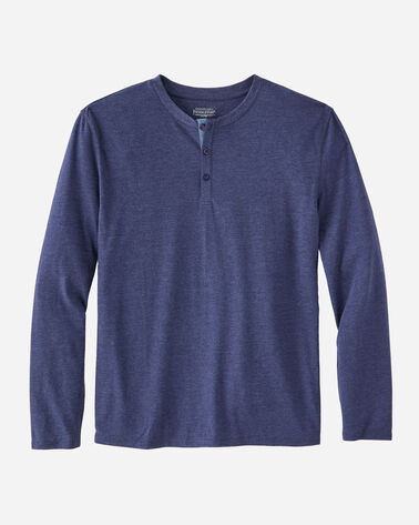MEN'S LONG-SLEEVE HENLEY, NAVY HEATHER, large