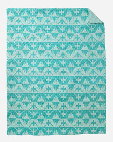 ADDITIONAL VIEW OF SPIDER ROCK PRINTED COVERLET SET IN AQUA