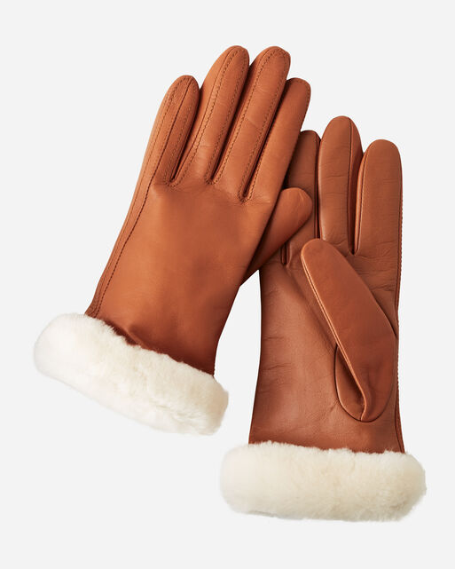 CLASSIC LEATHER TECH GLOVES, CHESTNUT, large