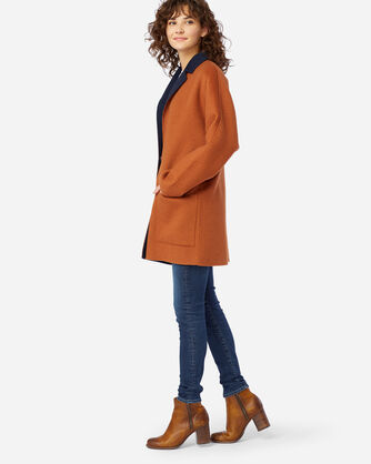 ALTERNATE VIEW OF WOMEN'S DOUBLE FACE LONG JACKET IN GINGERBREAD/NAVY