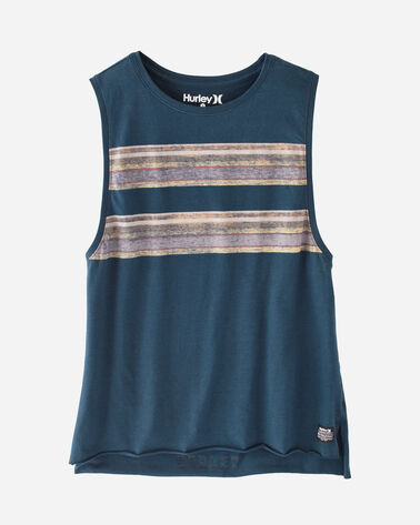 HURLEY X PENDLETON WOMEN'S BIKER TANK, NAVY BADLANDS, large