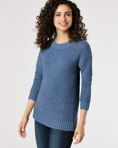 TEXTURED CREW NECK PULLOVER, BLUE HORIZON, large
