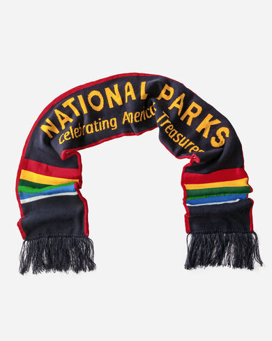 ADDITIONAL VIEW OF NATIONAL PARK SCRIPT SCARF IN MULTI STRIPE