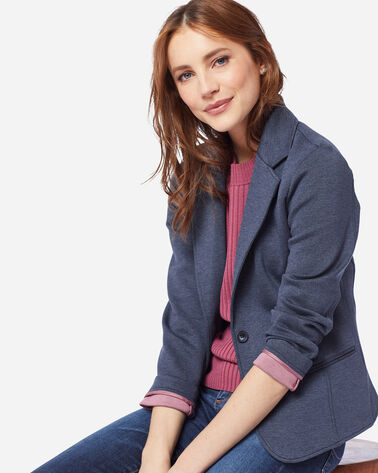 WOMEN'S DOUBLE KNIT BLAZER IN INDIGO/ROSE