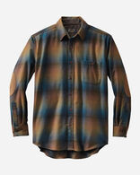 MEN'S ELBOW-PATCH TRAIL SHIRT IN BRONZE/COBALT OMBRE