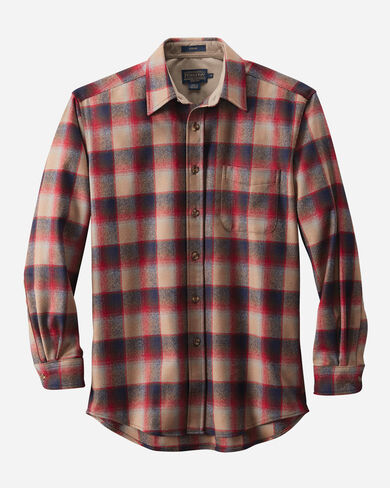 MEN'S LODGE SHIRT, RED/TAN OMBRE, large
