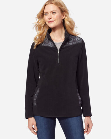 HALF-ZIP FLEECE PULLOVER, BLACK HARDING, large