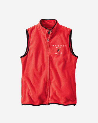FLEECE ZIP VEST, RED, large