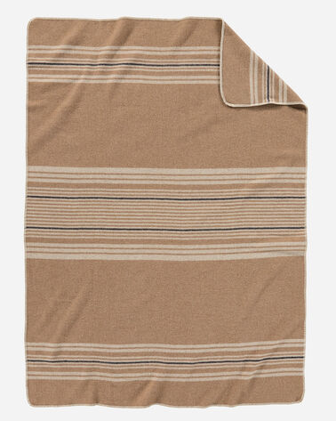 ADDITIONAL VIEW OF ECO-WISE WOOL THROW IN CAMEL IRVING STRIPE