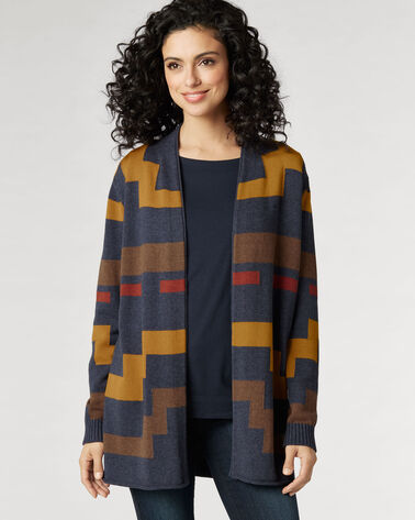 IMNAHA CARDIGAN, INDIGO/BROWN MULTI, large