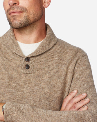 ALTERNATE VIEW OF MEN'S SHETLAND SHAWL PULLOVER IN COYOTE TAN HEATHER