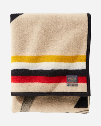 ALTERNATE VIEW OF BUFFALO NATION BLANKET IN TAN
