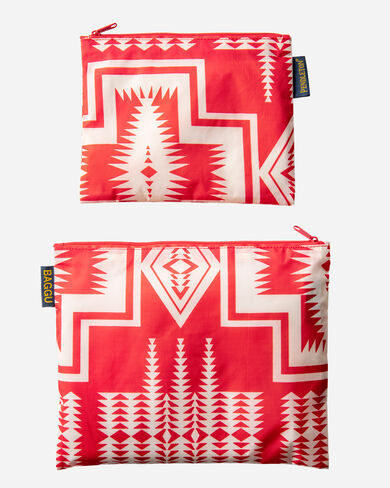 2 PACK ZIP POUCH IN HARDING RED