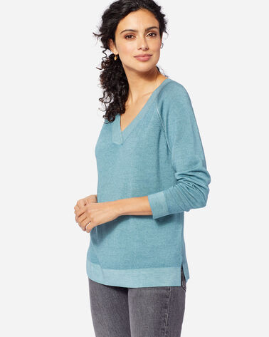 WOMEN'S MAGIC WASH MERINO V-NECK, TEAL, large