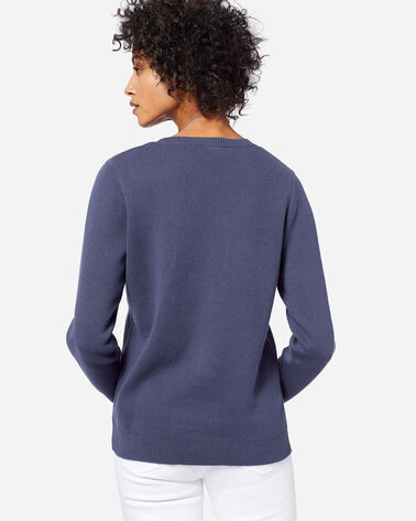 WOMEN'S SOLID COTTON PULLOVER SWEATER, INDIGO, large
