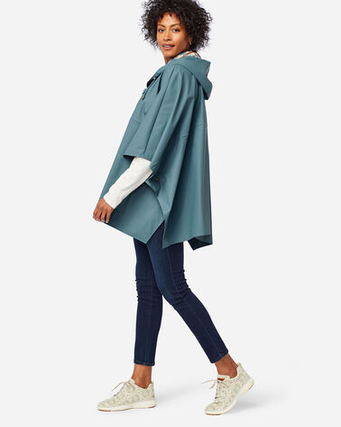 ALTERNATE VIEW OF RAIN PONCHO IN SLATE BLUE