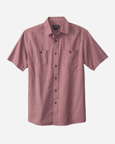 FITTED SHORT-SLEEVE CHAMBRAY SHIRT, BRICK RED, large