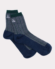 HERRINGBONE ANKLET SOCKS, NAVY, large