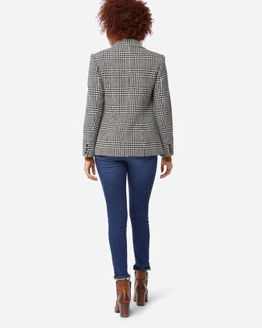 WOMEN'S BRYNN PATCH POCKET WOOL BLAZER, BLACK/IVORY GLEN PLAID, large