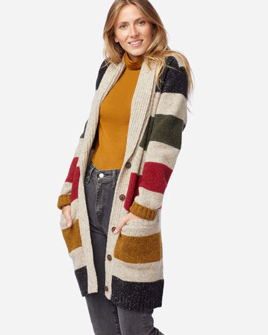 ALTERNATE VIEW OF WOMEN'S GLACIER STRIPE CARDIGAN IN TAN STRIPE