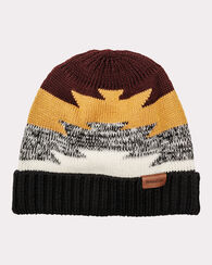 COLOR BLOCK BEANIE, BROWN/GOLD/BLACK, large
