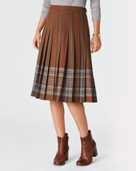 PAMELA PLEAT SKIRT, BROWN PLAID, large