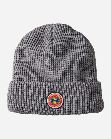 NATIONAL PARK PATCH WAFFLE BEANIE IN LIGHT GREY HEATHER