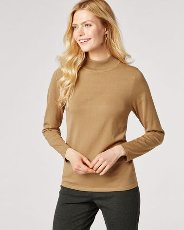 WASHABLE SILK-BLEND MOCK TURTLENECK, CAMEL, large