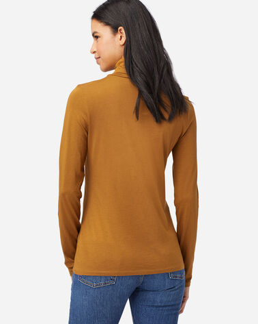 ALTERNATE VIEW OF LONG-SLEEVE TURTLENECK JERSEY TEE IN PEANUT