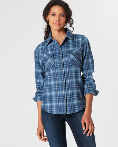 RANCH HAND PLAID SHIRT, LIGHT DENIM OMBRE PLAID, large