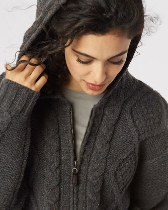 HOODED ZIP OVERSIZED CARDIGAN, GREY TWEED, large