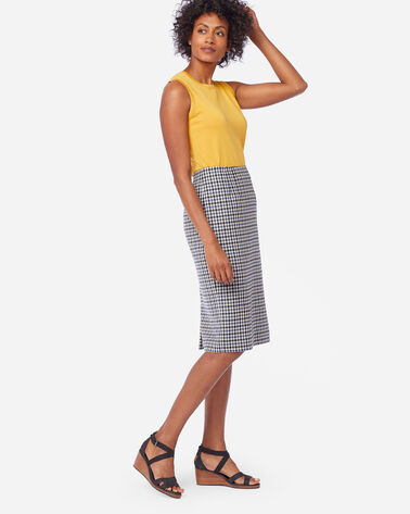 ALTERNATE VIEW OF AIRLOOM MERINO TWILL PENCIL SKIRT IN BLUE HORIZON/BLCK/IVORY