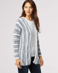 SKYLIGHT STRIPE CARDIGAN, WHITE/INDIGO, large