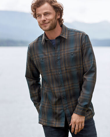 ADDITIONAL VIEW OF MEN'S WOOL FLANNEL SHIRT IN BROWN/TEAL OMBRE