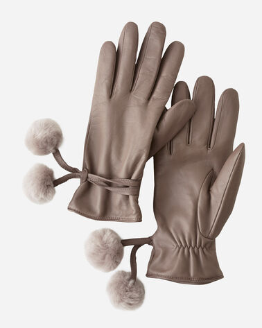 LEATHER POM TECH GLOVES, STORMY GREY, large
