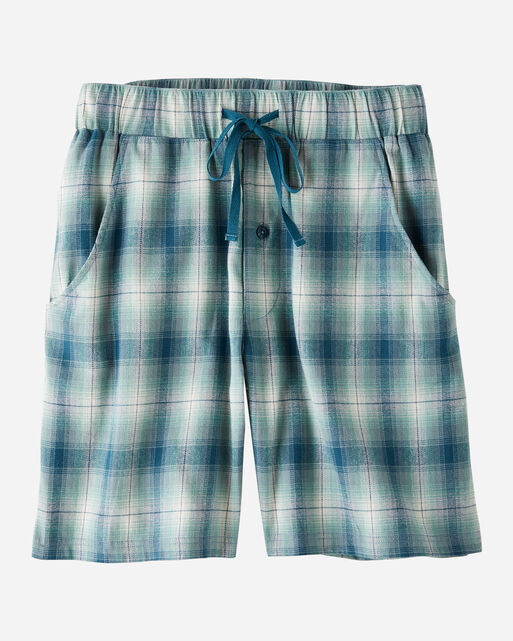 MEN'S FLANNEL PAJAMA SHORTS IN BLUE/TEAL PLAID