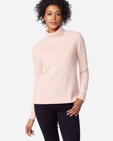 WOMEN'S MERINO/CASHMERE TURTLENECK, SOFT PINK, large