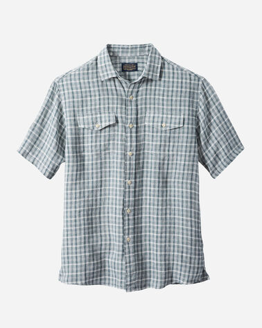 MEN'S MALONE LINEN SHIRT IN BLUE/IVORY PLAID