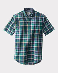 SHORT-SLEEVE SEASIDE SHIRT, KELLY GREEN/NAVY PLAID, large