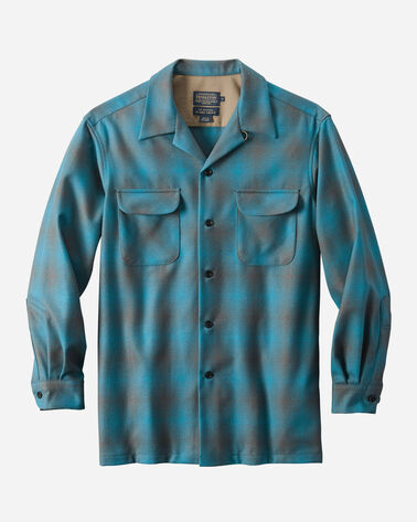 MEN'S FITTED BOARD SHIRT, BLUE/GREY SHADOW PLAID, large