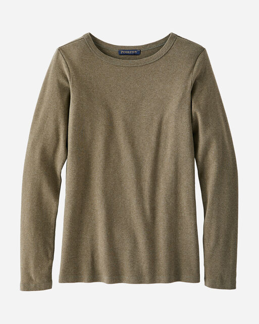 WOMEN'S LONG-SLEEVE COTTON RIBBED TEE IN MILITARY OLIVE HEATHER