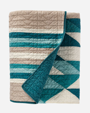 SIERRA MADRE PIECED QUILT SET, AQUA, large