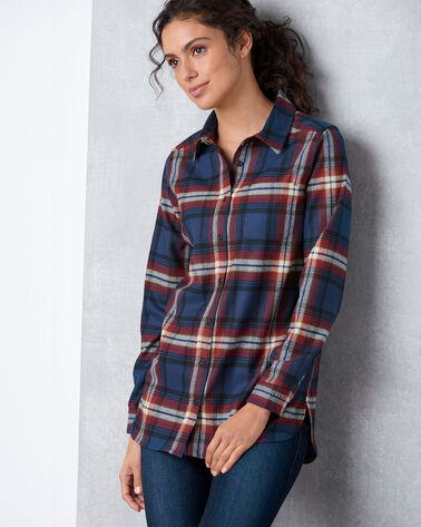 ADDITIONAL VIEW OF ULTRALUXE MERINO ONE POCKET TUNIC IN NAVY/RED LARGE PLAID