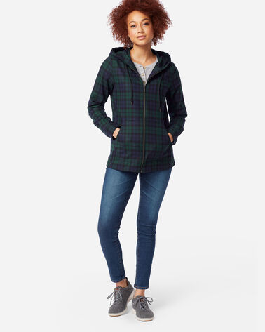 WOMEN'S WOOL ZIP HOODIE, BLACK WATCH TARTAN, large