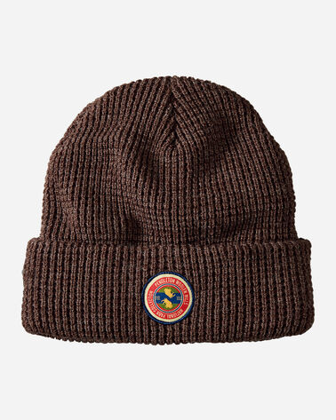 NATIONAL PARK PATCH WAFFLE BEANIE, DARK BROWN HEATHER, large