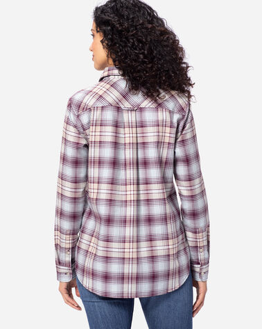 WOMEN'S LONG-SLEEVE PLAID SHIRT, FIG/TAUPE, large