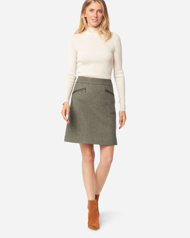 MARLOWE WOOL SKIRT IN OLIVE/BEIGE HERRINGBONE