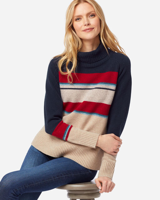 WOMEN'S CAMP STRIPE WOOL TURTLENECK IN SANDSHELL/NAVY