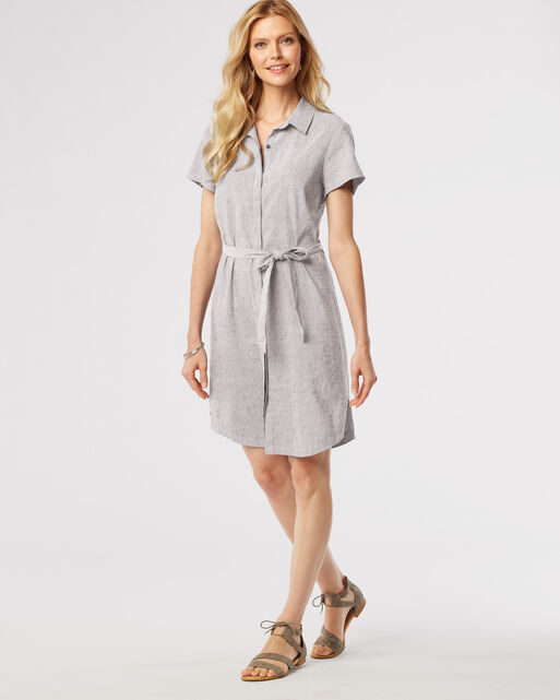 AIMEE CHAMBRAY DRESS, LIGHT GREY, large