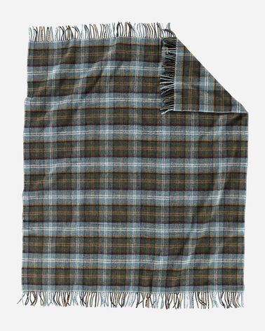 ALTERNATE VIEW OF ECO-WISE WOOL FRINGED THROW IN SHALE PLAID